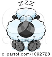 Clipart Cute Baby Sheep Sleeping Royalty Free Vector Illustration by Cory Thoman