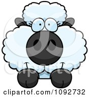 Clipart Cute Baby Sheep Looking Over A Surface Royalty Free Vector Illustration