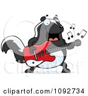 Clipart Chubby Skunk Guitarist Royalty Free Vector Illustration