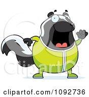 Chubby Skunk Waving In Pajamas
