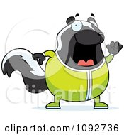 Clipart Chubby Skunk Waving In Pajamas Royalty Free Vector Illustration