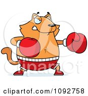 Clipart Chubby Orange Cat Boxing Royalty Free Vector Illustration by Cory Thoman