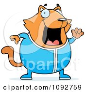 Clipart Chubby Orange Cat Waving In Pajamas Royalty Free Vector Illustration
