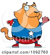 Clipart Chubby Super Orange Cat Waving Royalty Free Vector Illustration