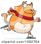 Clipart Chubby Orange Cat Ice Skating Royalty Free Vector Illustration