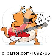 Clipart Chubby Orange Cat Guitarist Royalty Free Vector Illustration