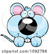 Clipart Cute Blue Mouse Looking Over A Surface Royalty Free Vector Illustration