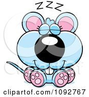 Clipart Cute Blue Mouse Sleeping Royalty Free Vector Illustration