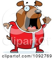 Clipart Chubby Dog Waving In Pajamas Royalty Free Vector Illustration