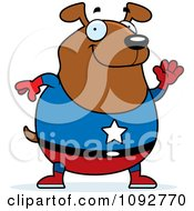 Clipart Chubby Super Dog Waving Royalty Free Vector Illustration