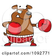 Clipart Chubby Dog Boxing Royalty Free Vector Illustration by Cory Thoman