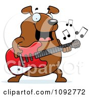 Clipart Chubby Dog Guitarist Royalty Free Vector Illustration