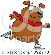 Clipart Chubby Dog Ice Skating Royalty Free Vector Illustration
