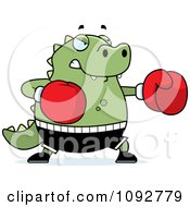 Clipart Chubby Lizard Boxing Royalty Free Vector Illustration by Cory Thoman