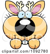 Clipart Cute Jackalope Looking Over A Surface Royalty Free Vector Illustration