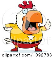 Clipart Chubby Super Rooster Waving Royalty Free Vector Illustration by Cory Thoman