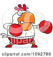 Clipart Chubby Rooster Boxing Royalty Free Vector Illustration by Cory Thoman