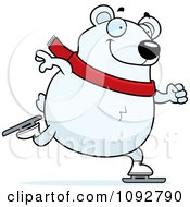 Clipart Chubby Polar Bear Ice Skating Royalty Free Vector Illustration by Cory Thoman