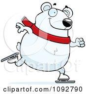 Clipart Chubby Polar Bear Ice Skating Royalty Free Vector Illustration