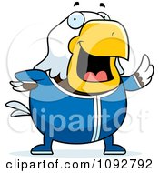 Clipart Chubby Bald Eagle Waving In Pajamas Royalty Free Vector Illustration