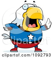 Clipart Chubby Super Bald Eagle Waving Royalty Free Vector Illustration by Cory Thoman