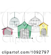 Clipart Bird Cages Royalty Free Vector Illustration