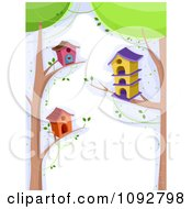 Clipart Border Of Bird Houses On Tree Branches With White Copyspace Royalty Free Vector Illustration