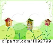 Clipart Border Of Bird Houses On Tree Tops With White Copyspace Royalty Free Vector Illustration