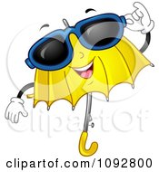 Clipart Yellow Umbrella Wearing Shades Royalty Free Vector Illustration by BNP Design Studio