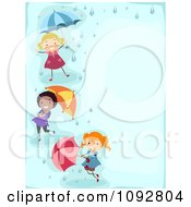 Clipart Border Of Girls Playing With Umbrellas And Rain With Blue Copyspace Royalty Free Vector Illustration