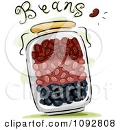 Clipart Jar Full Of Beans With Text Royalty Free Vector Illustration
