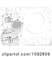 Clipart Border Of Grayscale Bird Cages And Copyspace Royalty Free Vector Illustration