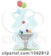 Clipart Birds With Balloons At A Bath Royalty Free Vector Illustration