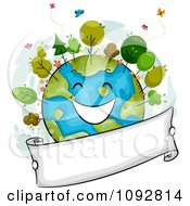Clipart Happy Earth With Trees And A Blank Banner Royalty Free Vector Illustration