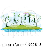 Clipart Rainbow Over Plants Forming EARTH Royalty Free Vector Illustration