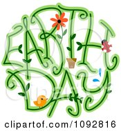 Earth Day Spelled With Vines A Bird Flower And Ladybug