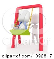 Clipart 3d Ivory Person Pushing A Kid On A Swing Royalty Free CGI Illustration