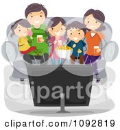 Poster, Art Print Of Happy Family Watching Tv At Home