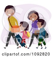 Clipart Happy Black Family Walking With Travel Luggage Royalty Free Vector Illustration