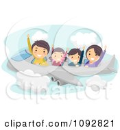 Clipart Happy Caucasian Family Flying On An Airplane Royalty Free Vector Illustration