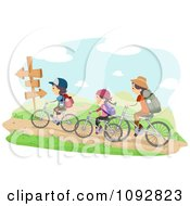 Clipart Family Biking On Trails Royalty Free Vector Illustration