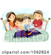 Clipart Mother Reading An Astronomy Book To Her Kids At Bed Time Royalty Free Vector Illustration