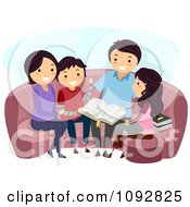 Clipart Happy Family Doing A Bible Study Royalty Free Vector Illustration