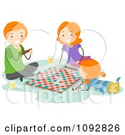 Clipart Happy Family Playing A Board Game Together Royalty Free Vector Illustration