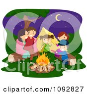 Clipart Happy Family Playing Around A Camp Fire Royalty Free Vector Illustration