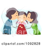 Clipart Mom And Dad Kissing Their Daughter On Her Cheeks Over Blue Royalty Free Vector Illustration