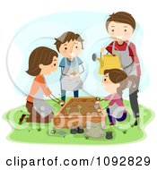 Clipart Happy Family Planting A Garden Royalty Free Vector Illustration