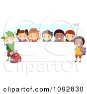 Clipart Happy Diverse Summer Camp Children By A Blank Banner Royalty Free Vector Illustration
