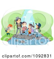 Clipart Happy Family Hiking And Crossing A River Over Green Royalty Free Vector Illustration