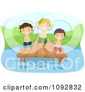 Happer Summer Camp Boys Jumping Off Of A Dock